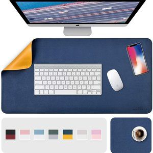 """31.5"""" x 15.7"""" + 8""""x11"""" Leather Desk Pad 2 Pack, Blue__Yellow"""